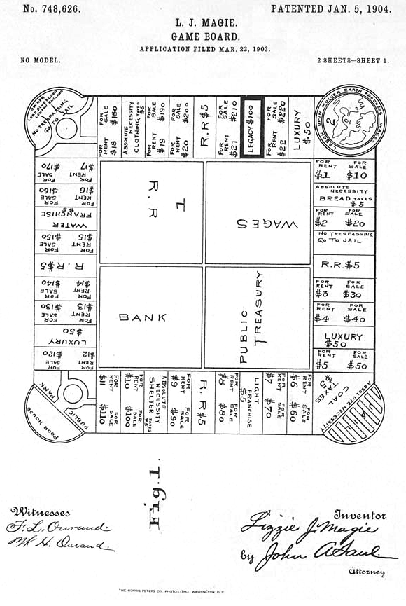 First page of patent submission for first version of Lizzie Magie's board game, granted on January 5, 1904