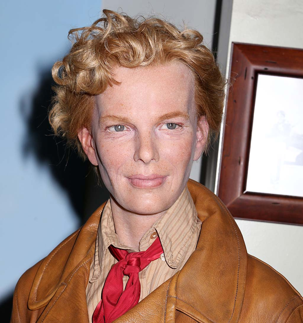 A wax figure of Amelia Earhart is seen on display at Madame Tussauds