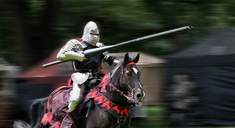 Armored horse rider with lance