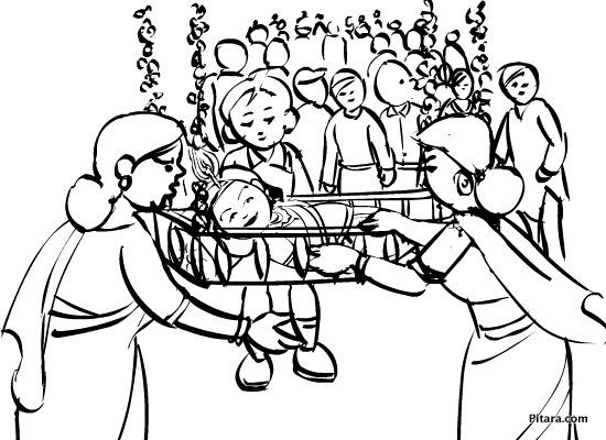 Janmashtami Festival Drawing Janmashtami – Coloring Page