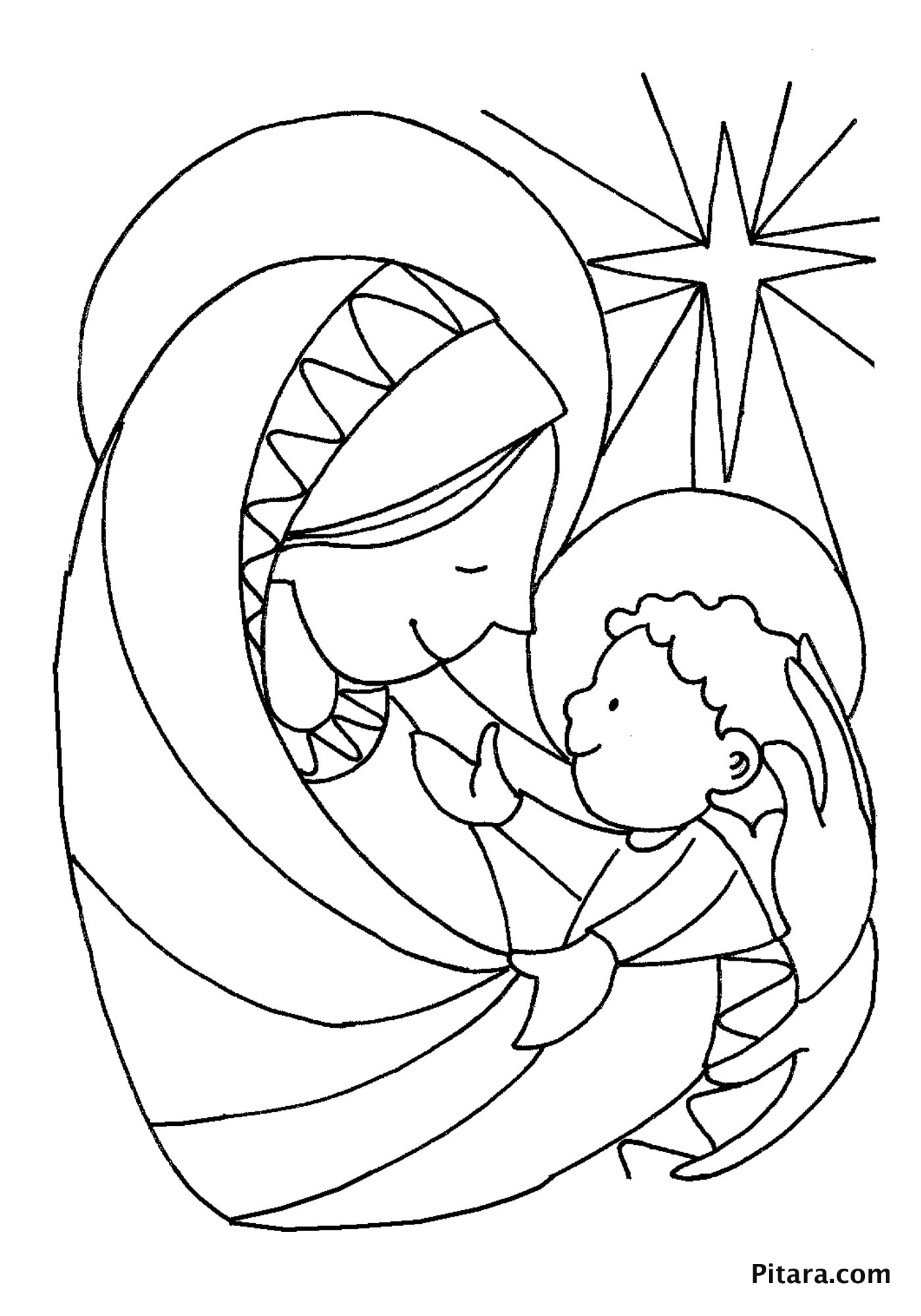 Mary amp baby Jesus Coloring page