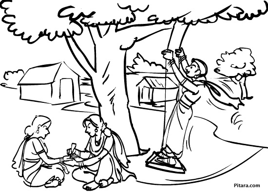 festival coloring pages - teej coloring page pitara kids network