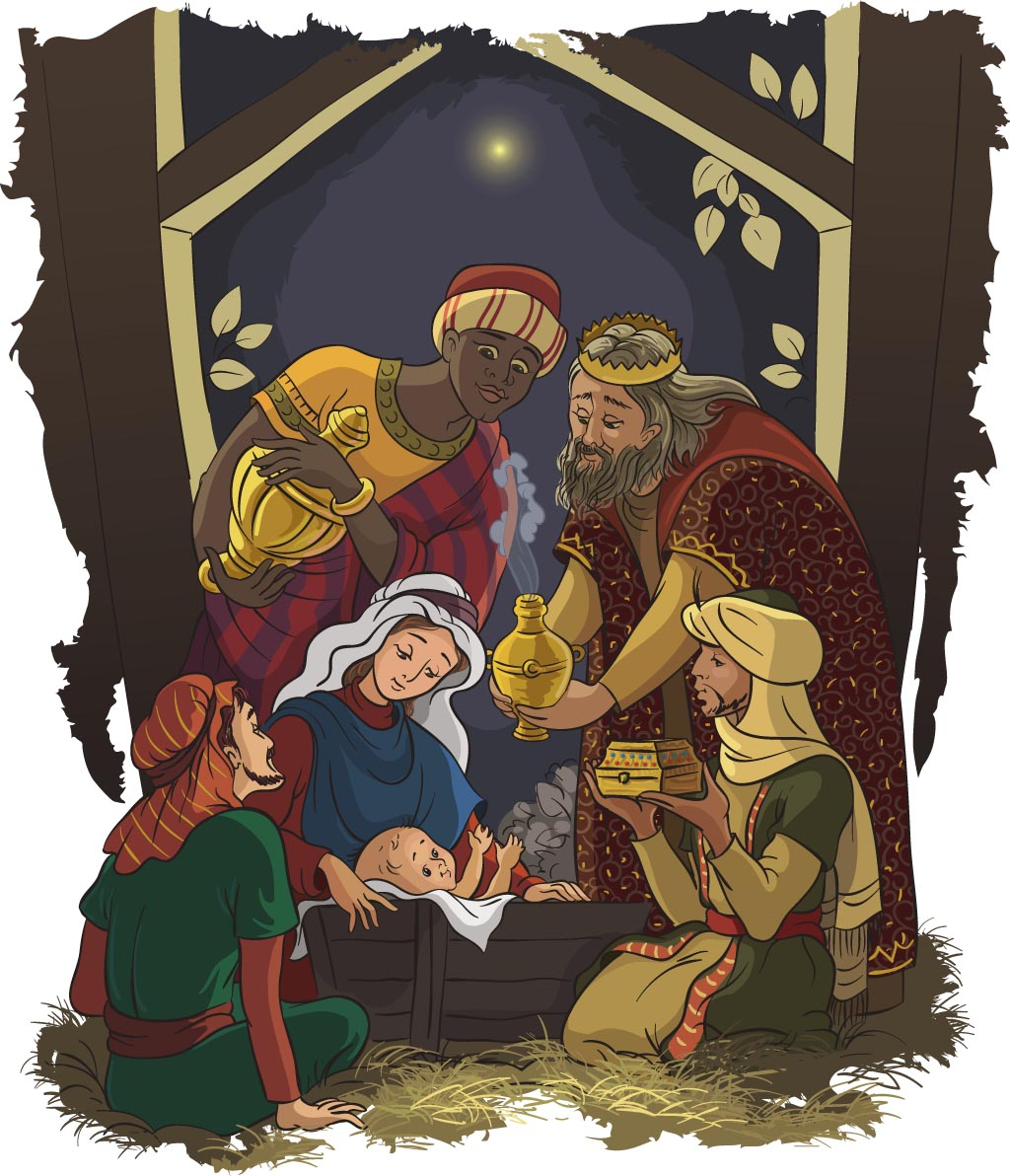 Nativity scene:  Jesus, Mary, Joseph and the three kings