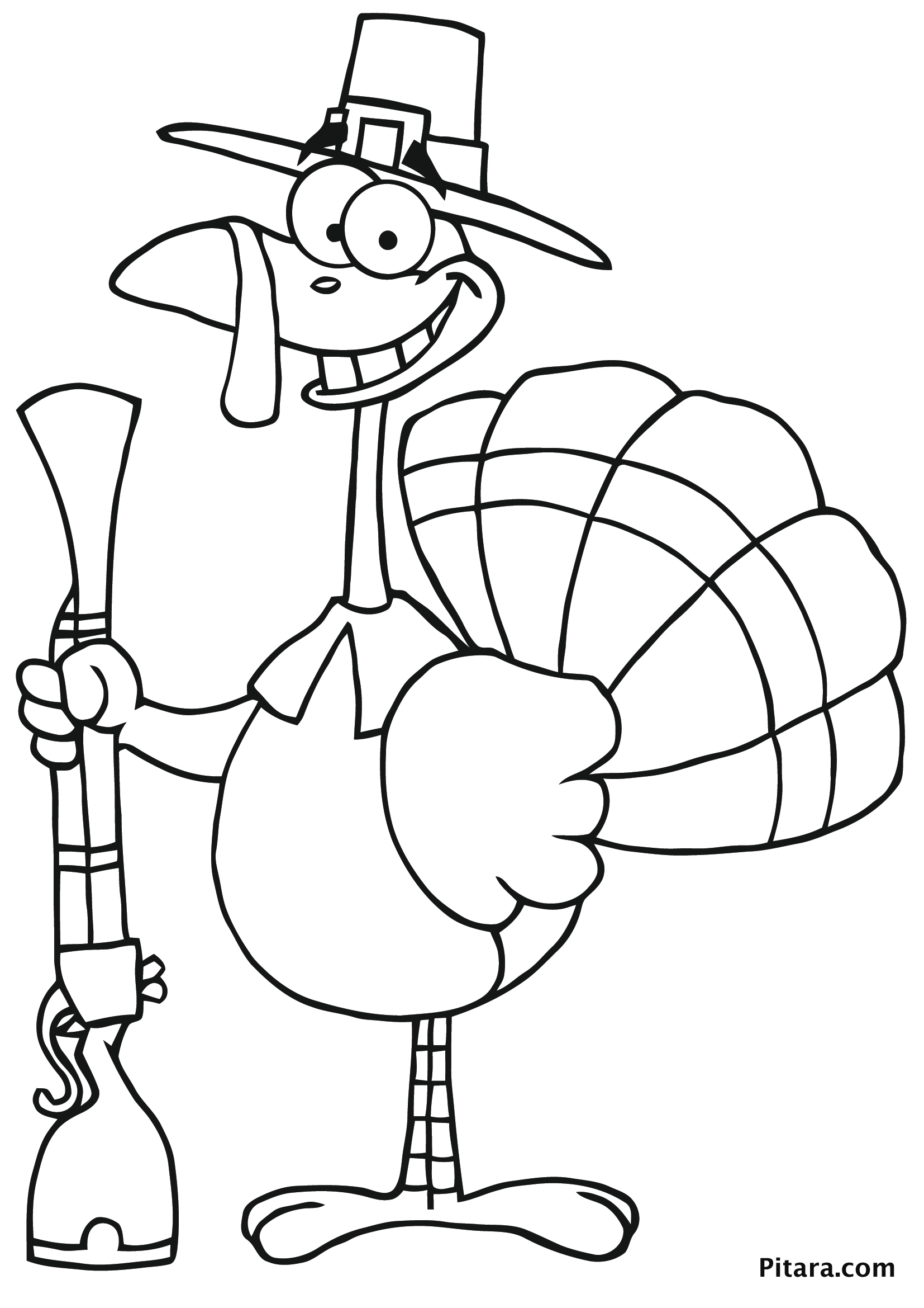 hunter turkey colouring page for kids pitara kids network