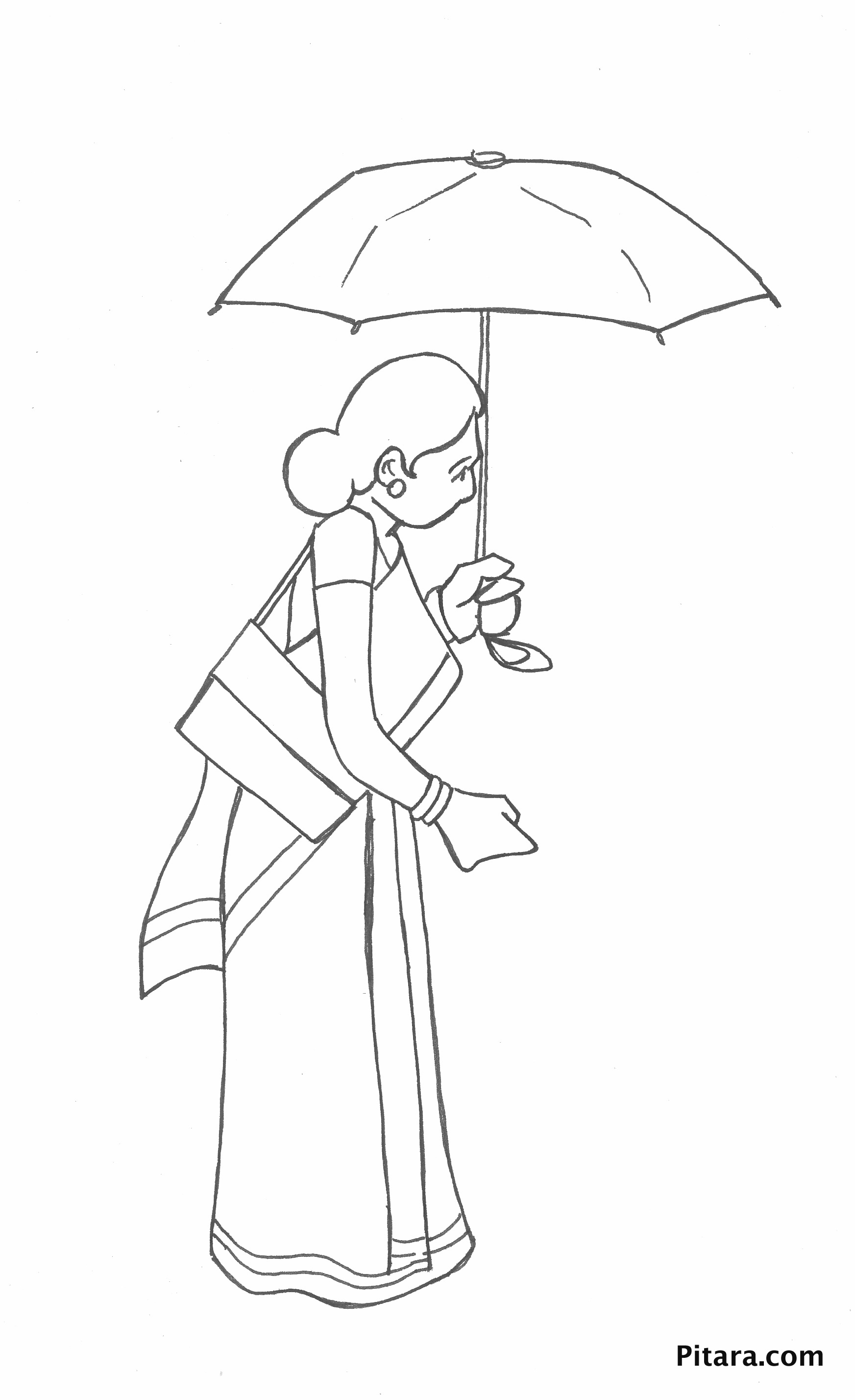 Woman with umbrella – Coloring page | Pitara Kids Network